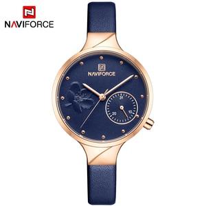 Image 2 - Naviforce 女性ファッションブルークォーツ時計女性レザー腕時計高品質カジュアル防水腕時計ギフト妻 2019