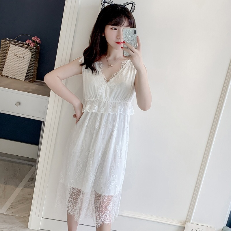 QWEEK Sleepwear Sexy V Neck Night Gown Lace Nightdress Sleepwear Nightie Night Dress Sexy Sleeveless Lingere Sleep Dress 2020