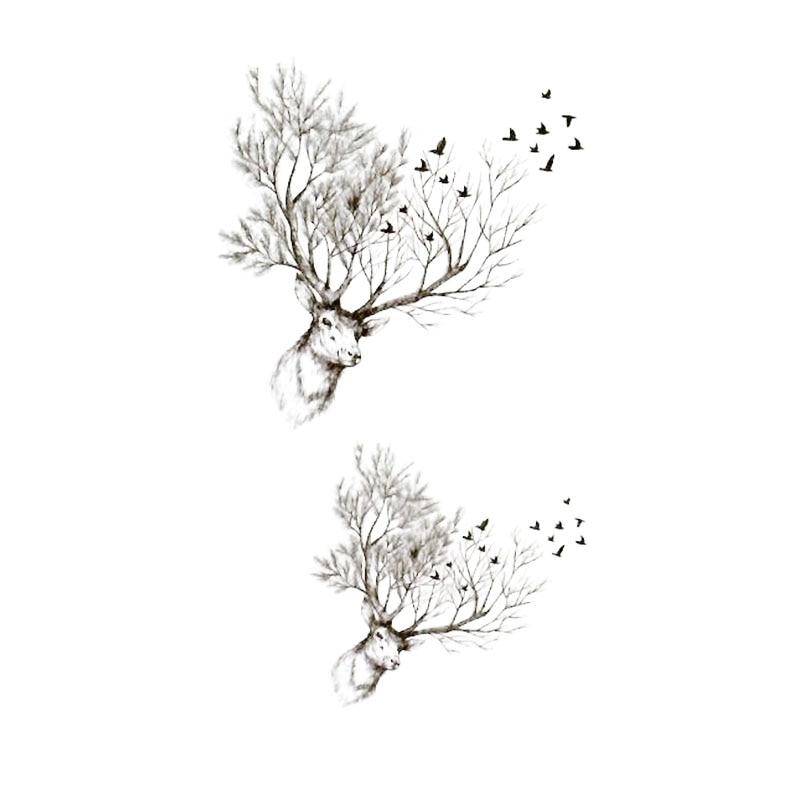 Водостойкая временная татуировка наклейка эскиз ветка голова оленя муха тату ручная Татуировка тела вспышка fakeTattoo наклейка маленькая