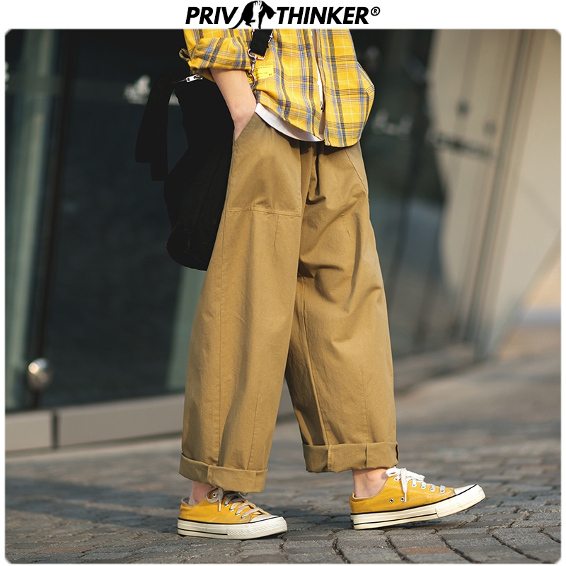 Privathinker Men Japan Safari Style Solid Joggers 2019 Mens Loose Srraight Wide Leg Pants Male Fashion Hip Hop Cargo Pants Black