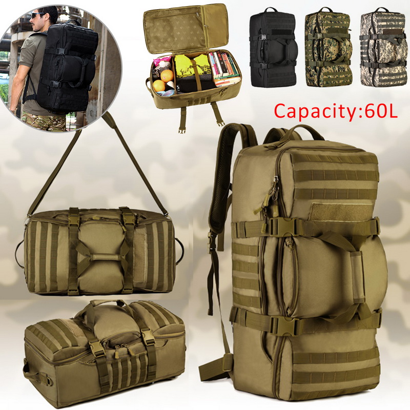 60L Man/Women Hiking Trekking Bag Military Tactical Backpack Army Waterproof Molle Bug Out Bag Outdoor Travel Camping Backpack