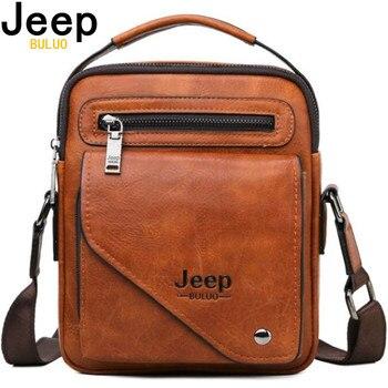 JEEP BULUO Split Leather Crossbody Tote Men Bag Famous Designer Shoulder Messenger Bags Fashion Business High Quality