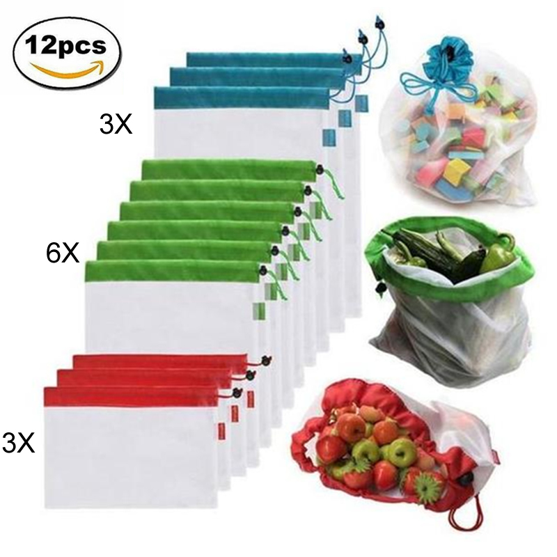 12pcs Reusable Mesh Produce Bags Washable Eco Friendly Bags Shopping Bags for Grocery Shopping Storage Fruit Vegetable Toys