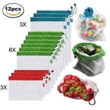 12pcs Riutilizzabile Mesh Produrre Borse Lavabile Eco Friendly Borse Borse per la Spesa di Acquisto di Generi Alimentari di Stoccaggio di Frutta Verdura Giocattoli