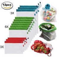O produto reusável da malha de 12 pces ensaca sacos de compras amigáveis lavável de eco para brinquedos do vegetal do fruto do armazenamento da compra da mercearia