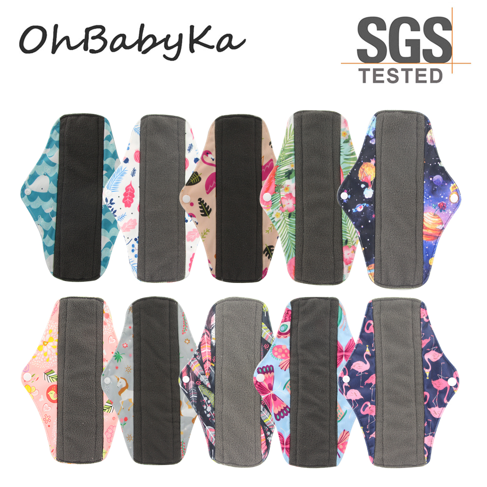 Image 2 - OhBabyKa Washable Sanitary Pads Bamboo Cloth Pads Reusable Serviette Hygienique Cartoon Print Women Menstrual Pads Size S M L-in Feminine Hygiene Product from Beauty & Health