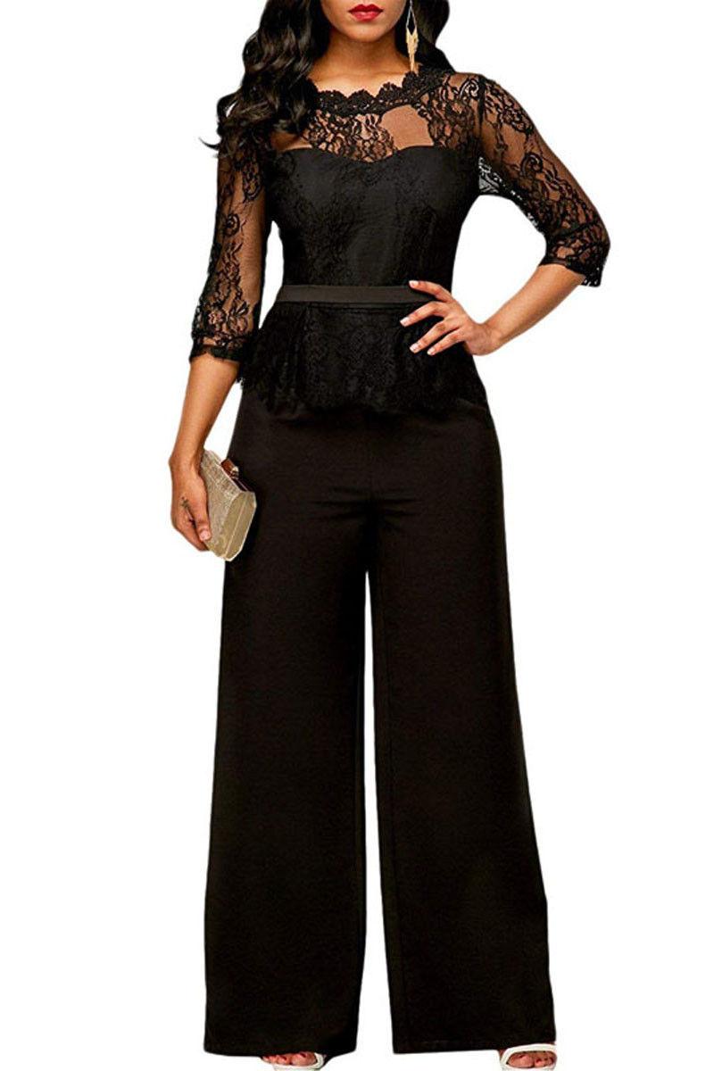 Mono De Encaje Para Mujer Peto Pantalones Largos Pelele Elegante Para Fiesta De Noche Ropa Para Mujer Overoles Y Mamelucos Aliexpress