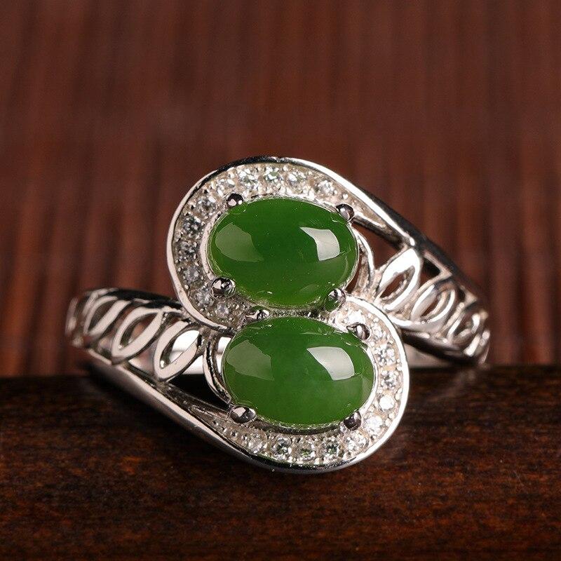 Real Green Jade Ring Hetian Jade Resizable Emerald Ring Micro-inlaid 925 Sterling Silver Women Rings Jade Jewelry Nickles Women
