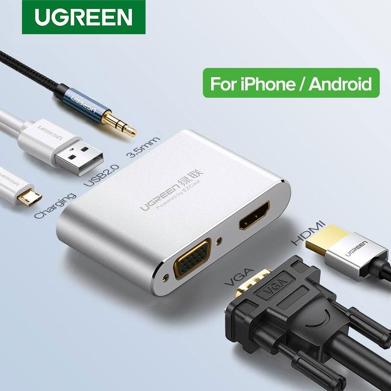 Ugreen HDMI VGA Adapter for iPhone iPad TV Lightning USB Audio Video HDMI Converter for iPhone to HDMI Adapter Lightning to HDMI