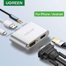Ugreen HDMI VGA מתאם עבור iPhone iPad טלוויזיה ברקים USB אודיו וידאו HDMI ממיר עבור iPhone כדי HDMI מתאם ברקים כדי HDMI