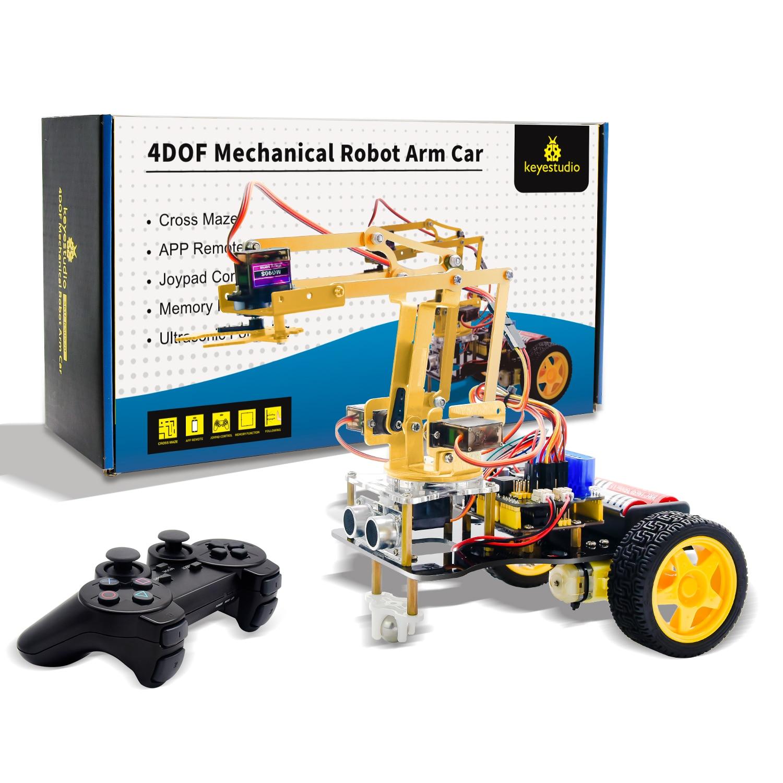 Keyestudio 4DOF Kit de démarrage d'apprentissage de voiture Robot bras mécanique avec contrôleur PS2 pour Robot Arduino/Support Android et IOS