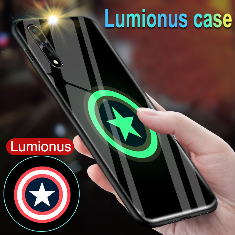 Marvel Iron Man Luminous Glass Case For Vivo V17 Neo S1 India Z5X Black Panther Cover Coque For Vivo IQOO Neo Pro 5G