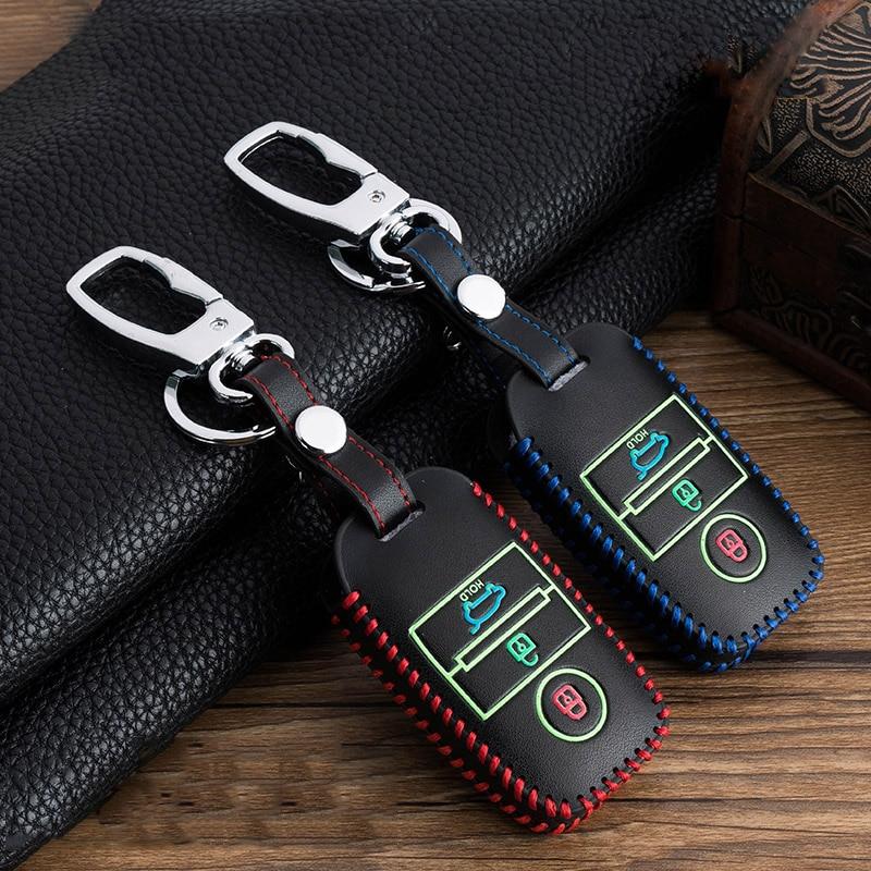 Hand-stitched Luminous Leather Full Cover Car Key Case For Kia KX3 KX5 K3S RIO RIO 4 Ceed Cerato Optima K5 Sportage Soul Sorento
