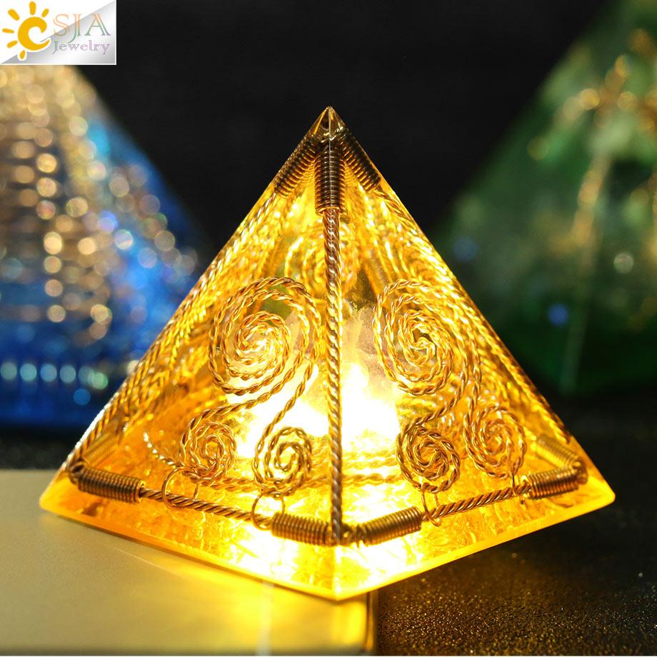 CSJA Orgone Energy Converter Orgonite Pyramid Metal Wire Natural Gravel Resin Reiki Healing Spiritual Craft Decoration Gift G250