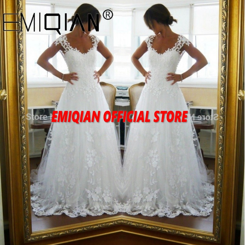 A-Line Cap Sleeve Bridal Gown,Court Train Tulle Wedding Dress with Lace Applique,See-through Back Lace Bride Dresses