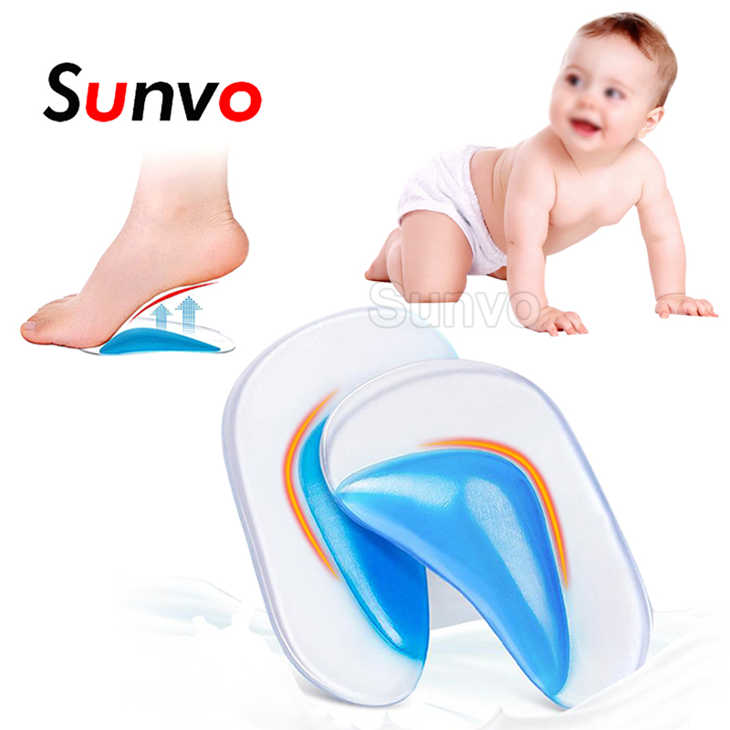 Sunvo Silicone Gel Children Orthotics Insoles For Kids Baby Flatfoot Orthopedic Corrector Arch Support Cushion Shoes Pads Sole