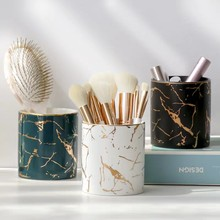 MT Nordic Marble Pattern Pen Holder Cosmetic Brush Storage Box Makeup Brush Holder Ceramic Jar Home Table Decoration Container