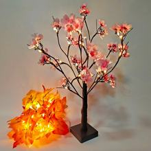 24led Pink Cherry Tree Light LED Garden Landscape Decoration Lamp Indoor Battery Light Cherry Flower Tree Light(China)