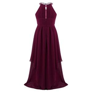 Image 4 - Chifón para niñas grandes, sin mangas, con lentejuelas, cuello Halter, vestido de princesa desfile, boda, cumpleaños, vestido de fiesta de comunión