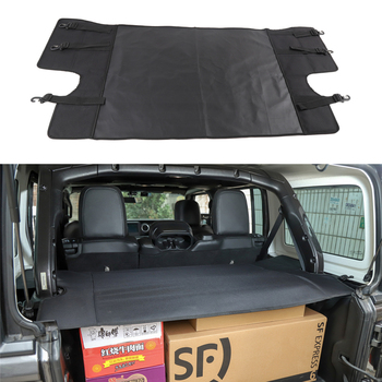 Rear Trunk Cover For Jeep Wrangler JL 2018 Luggage Carrier Curtain With Pull Buckle Black Covering Curtain Car Accessories