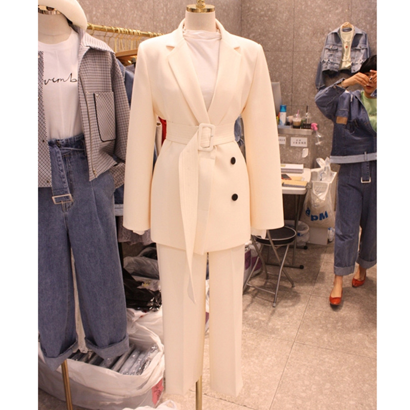 2020 Spring Autumn Pant Suit Women With Belt Office Lady Blazer Jacket Coat & Zipper Trousers Female Pink White Two Piece Set