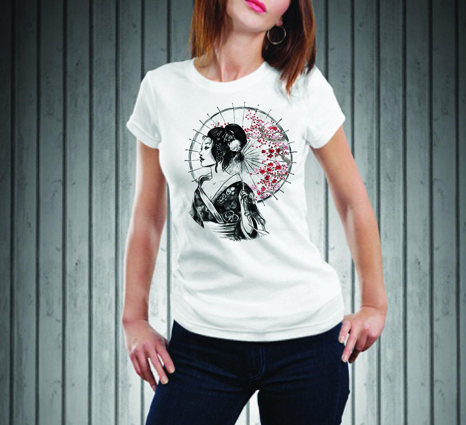 Women'S Tee T Shirt T Shirt Donna Happiness Moda Giappone Geisha T Shirts Short Sleeve Lady Top Shirts 033315