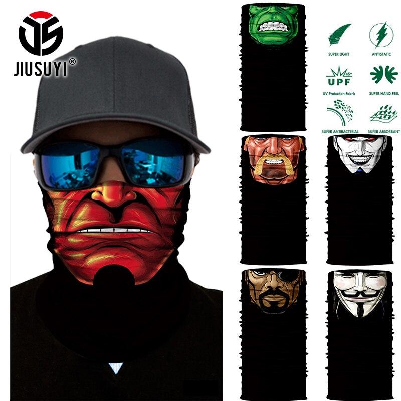 3D Seamless Scarves Multifunctional Magic Cartoon Face Ninja Tube Skull Neck Face Headband Bandana Headwear Ring Head Scarf Men