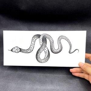 Большой размер, черная змея, Временные татуировки, наклейки для женщин и мужчин, тело, талия, водонепроницаемый, имитация татуировки, темное вино, змея, татуировка|Временные тату|   | АлиЭкспресс