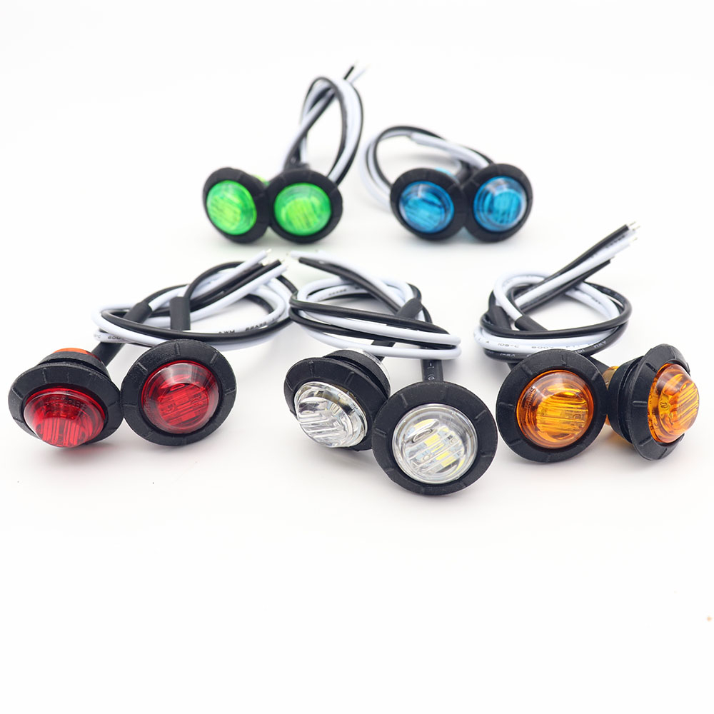 2pcs Waterproof Side Marker Indicators Light LED 12V Bullet Lamp Mini 3/4