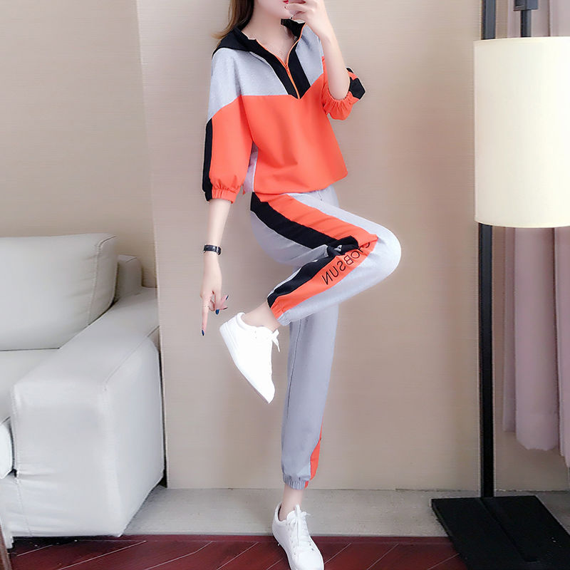 size loose casual suit female 2020 new autumn sports fashion trend hooded midsleeved sweater twopiece suit Women Sports Suit 25