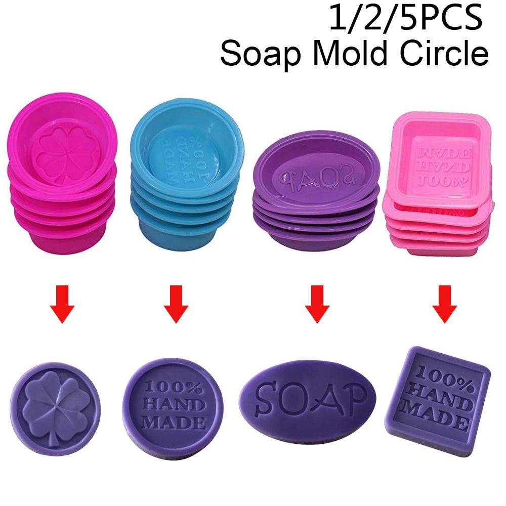 1/2/5pcs Multifunctional Soap Molds For Soap Making Silicone Soap Mold Circle Cupcake Baking Pan Molds Making Supplies
