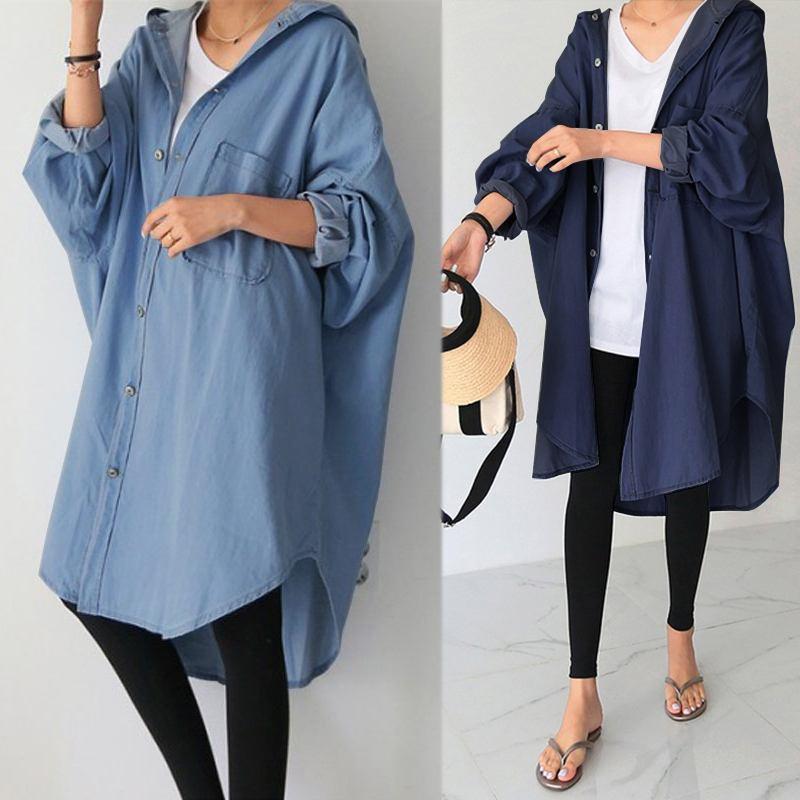 Women's Asymmetrical Outwear 2021 ZANZEA Elegant Denim Blue Coats Cardigans  Sleeve Button Jackets Female Hooded Tops