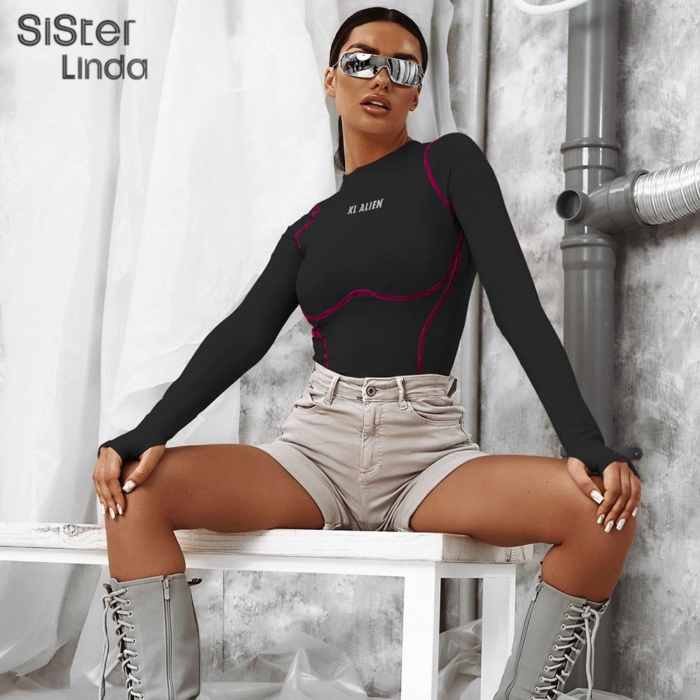 Sisterlinda Women Letter Print Reflective Bodysuits 2019 Thumb Hole Full Sleeve Rompers Solid Elastic Slim Female Short Playsuit