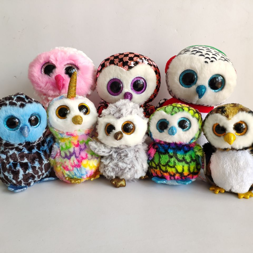 Owliver Owl 1PC 15CM Yago Owen Percy Owl Sequin Topper Soft Toys Moonlight Owl Kids Toys Enchanted Owl Real Picture Big Eyes