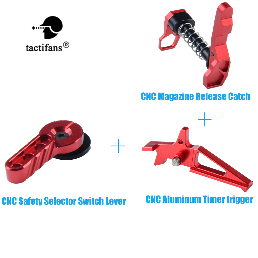 IPSC CNC Aluminum Timer Trigger Magazine Release Catch Safety Selector Switch Lever Set For M4/16 AEG Airsoft Accessories Red