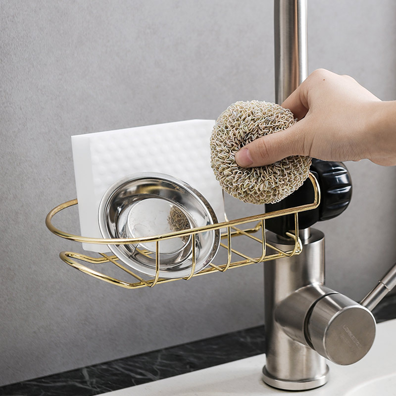E872 Kitchen Stainless Steel Faucet Water Draining Storage Shelf Bathroom Pool Storage Rack Organizing Sink Draining Shelf
