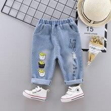 Childrens Garment Cartoon 80-120cm Baby Trend Cotton Jeans Trousers