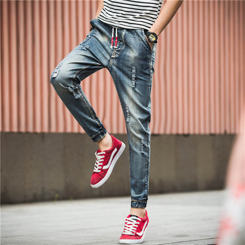 2016 New Style Men's With Holes Jeans Korean-style Fashion Casual Trousers Youth Ankle Banded Pants Slim Fit