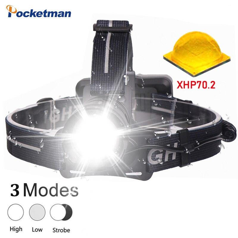 La maggior parte dei luminoso XHP70.2 Ha Condotto il faro di pesca impermeabile Della Torcia Zoom fari potente testa del flash testa della lampada della luce della lanterna 18650