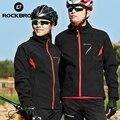 ROCKBROS комплект одежды для велоспорта, зимние теплые флисовые брюки, непромокаемые ветрозащитные светоотражающие велосипедные Джерси, компл...