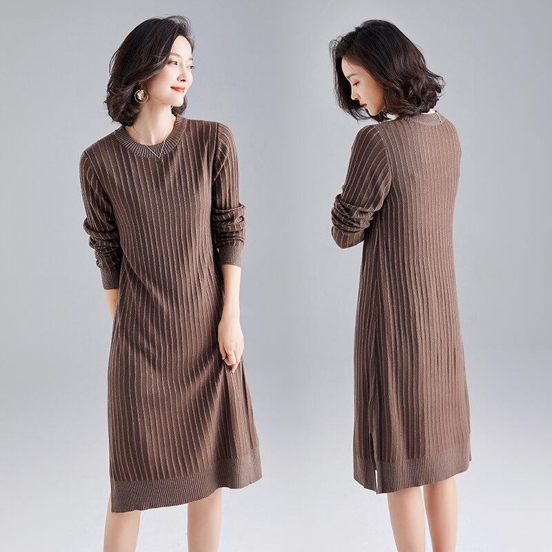 Nouveauté 2019 femmes pull laine robe printemps et automne pull élégant plaine femme tricot cachemire robe pulls