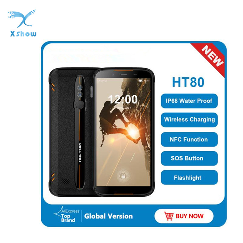 HOMTOM HT80 IP68 Waterproof Smartphone 4G LTE Android 10 5.5inch 18:9 HD+ MT6737 NFC Wireless charge SOS Mobile phone(China)
