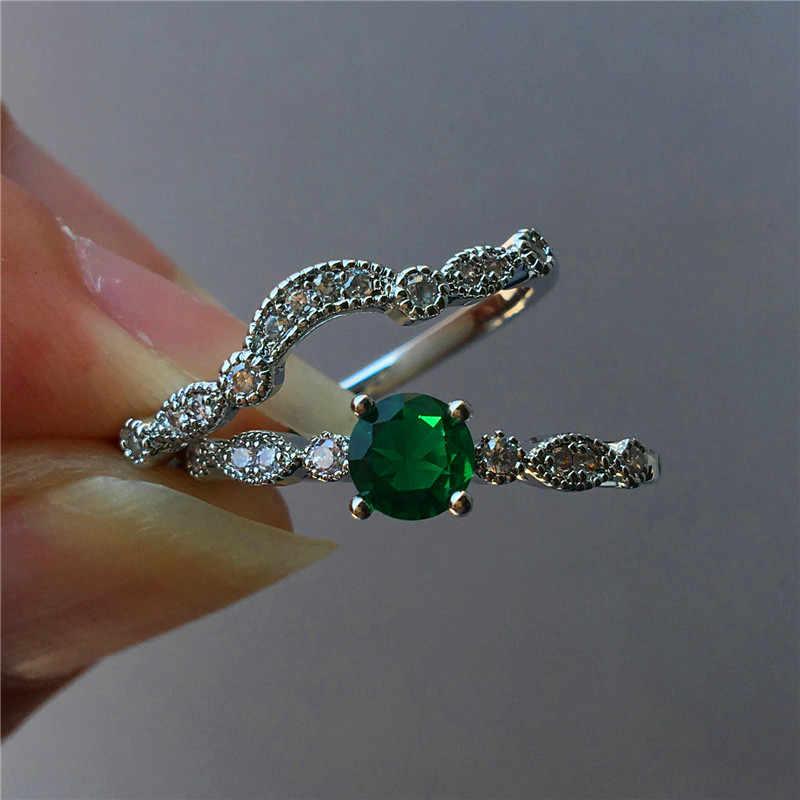 หญิงหรูหราสุภาพสตรีขนาดเล็กรอบ Zircon แหวนสัญญาแต่งงานสีเขียวแหวนแฟชั่นเงิน 925 รักหมั้นแหวน