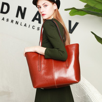 New Vintage Real Genuine Leather Bucket Handbags Woman Bag Shoulder Top handle Ladies Hand Bags Female Day Clutches Casual Tote