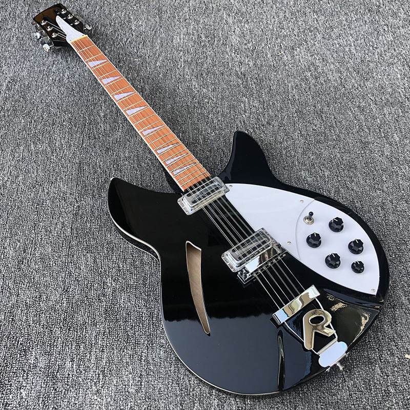 High quality 12 String Electric <font><b>Guitar</b></font>, Ricken <font><b>360</b></font> Electric <font><b>Guitar</b></font>,Black paint body with dot inlay fingerboard,free shipping image