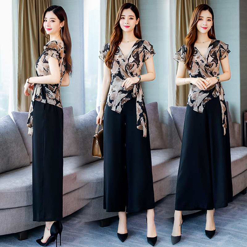 V-neck Printed Elegant Versatile Waist Hugging Korean-style 2019 Summer Trend Short Sleeve Elegant Set/Suit Skirt