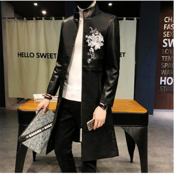 Mens Long Leather Trench Coats Black Hooded Leather Jackets Mens Long Jackets Slim Fit Hooded Leather Jackets Mens Korean Style