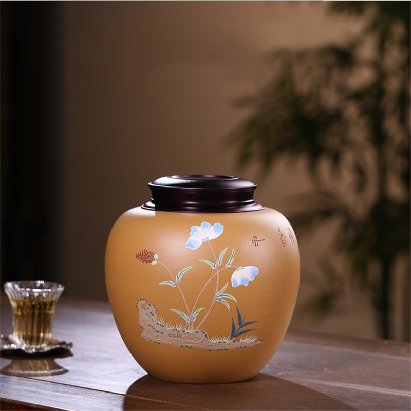 Purple Clay Tea Caddy Ceramic Chinese Style Tea Storage Box Large Airtight Pu'er Storage Tea Container Kitchen Household Product