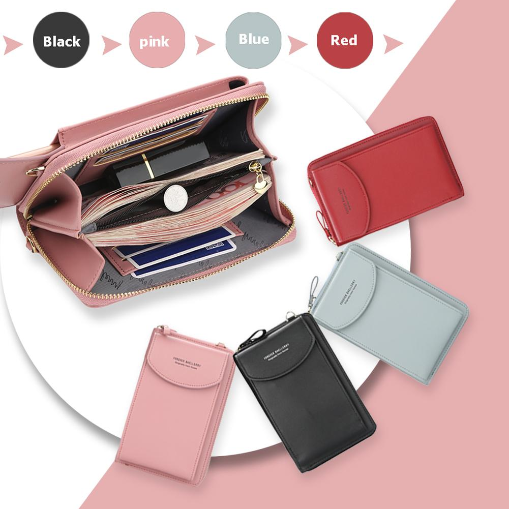 Baellerry Girls Solid Color PU Leather Purse Fashion Women Long Wristlet Clutches Portable Coin Bank Card Holder Wallets