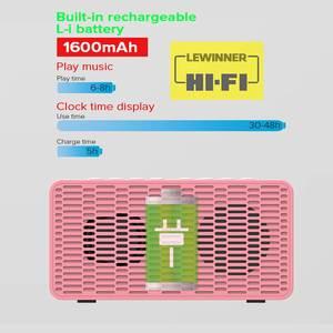 Image 5 - Haut parleur bluetooth sans fil, 5.0 haut parleurs, affichage des basses stéréo, double miroir dhorloge, carte TF, haut avec micro